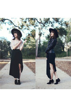 black vintage hat - black free people jacket - beige Chicwish blouse