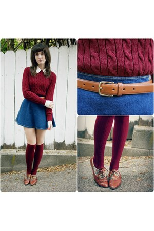cable knit American Apparel sweater - vintage shoes - American Apparel socks