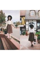 vintage hat - ferragamo shoes - vintage skirt - vintage top