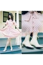 white vintage boots - light pink vintage dress