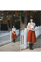 vintage boots - brixton hat - American Apparel top - vintage skirt