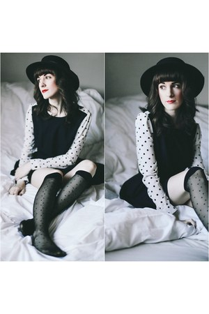 Darling dress - vintage hat - American Apparel stockings