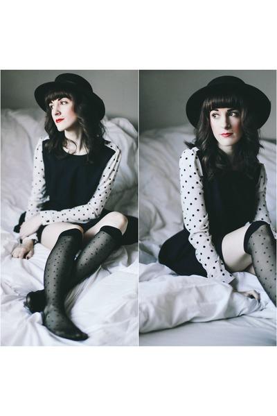 Darling dress - vintage hat - American Apparel stockings