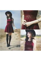 crimson free people dress - black leather free people hat - free people bracelet