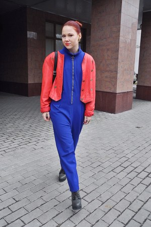 red Humana jacket - gray Topshop boots - blue Humana romper