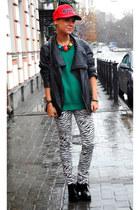 black Topshop boots - teal Topshop jumper