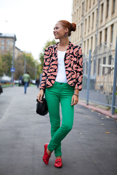 black Topshop jacket - black Topshop bag - green Zara pants