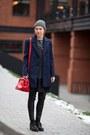 Navy-silvian-heach-coat-red-silvian-heach-bag-black-gaudi-pants