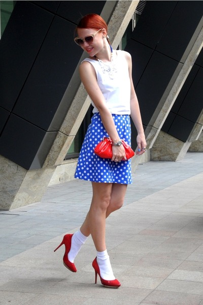 blue Topshop dress - red lanvin heels