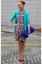 blue Zara bag - turquoise blue H&M jacket - red lanvin heels