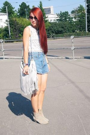 white H&M bag - cream Topshop top