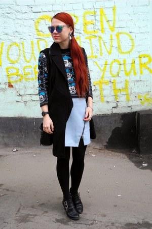 black H&M boots - periwinkle Zara skirt - black Incity vest