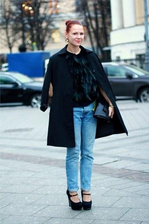 black Topshop cape - sky blue Topman jeans