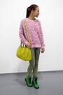 Green-h-m-boots-yellow-furla-bag-bubble-gum-meadham-kirchhoff-jumper