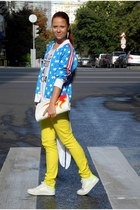 yellow fishbone jeans - blue Jeremy Scott jacket - white Fornarina sneakers