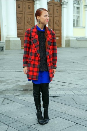 blue Topshop dress - red vintage coat