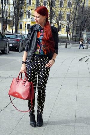 black ovs jacket - navy Zara pants