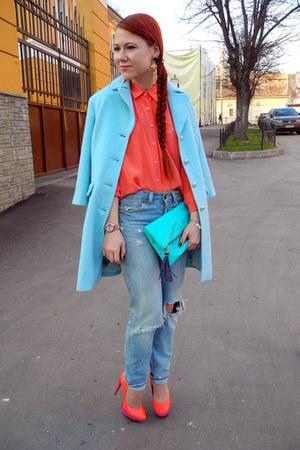 light blue Topshop jeans - salmon Love Republic blouse