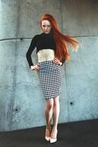 houndstooth Very Honey skirt - black crop top Very Honey top