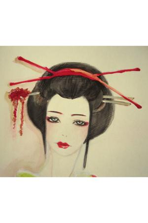 The geisha looks.