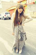 maxi skirt Shasa skirt - plushpurse c&a purse - Bershka cardigan