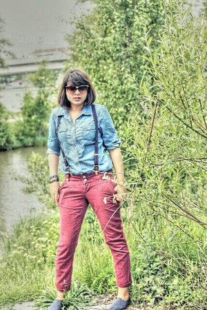blue Primark shoes - ruby red Zara pants - sky blue Only blouse