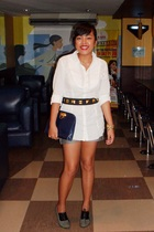 Old Navy blouse - shorts - random from Bangkok belt - random from Bangkok access