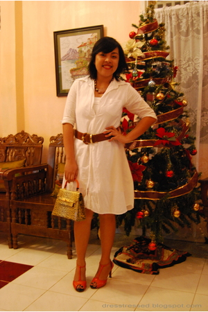 white random from Bangkok dress - orange thrifted shoes - gold From Moms closet