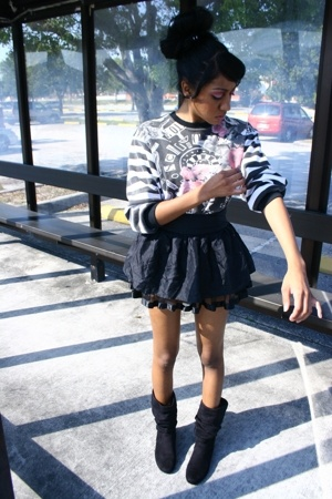 Vintage Moschino sweater - forever 21 skirt - earrings - Aeropostale boots