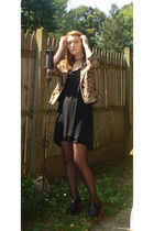 gold white house l black market jacket - black Target dress - brown  tights - bl