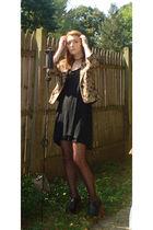 gold white house l black market jacket - black Target dress - brown  tights - bl