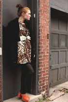 black coat - brown dress - black leggings - orange clogs - beige belt