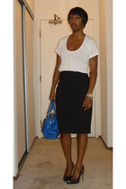 The Row t-shirt - Express skirt - Marc Jacobs purse - ABS shoes