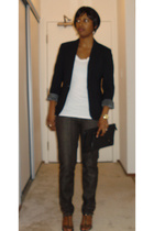 JCrew blazer - Generra t-shirt - deener jeans - banana republic shoes