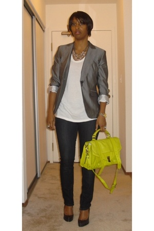 banana republic monogram blazer - The Row t-shirt - Hot Kiss jeans - ABS shoes -