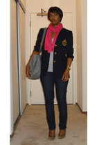 lauren ralph lauren blazer - Generra t-shirt - Old Navy jeans - brass plum shoes