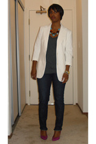 Victorias Secret blazer - Urban Outfitters t-shirt - Earnest Sewn jeans - Nine W