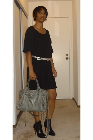 H&M dress - Club Monaco belt - Christian Louboutin boots - balenciaga accessorie