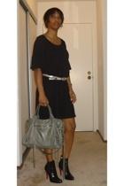H&M dress - Club Monaco belt - Christian Louboutin boots - balenciaga accessorie