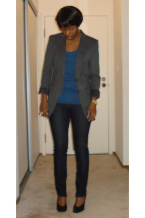 vintage blazer - Generra t-shirt - Hot Kiss jeans - Christian Louboutin shoes
