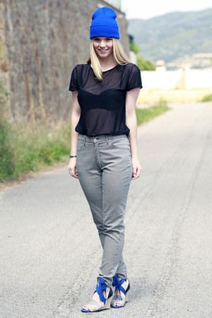 American Apparel t-shirt - American Apparel hat - adidas heels