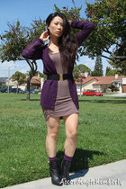 black f21 boots - tan foreign exchange dress - purple PacSun cardigan - purple D