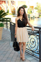black courtesy of Melie Bianco bag - peach courtesy of Charlotte Russe dress