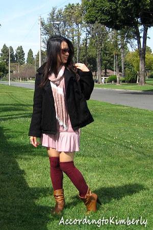 tan Bamboo boots - pink unknown dress - black unknown jacket - maroon volcom soc