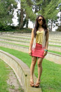 Yellow-f21-top-coral-foreign-exchange-skirt-camel-cathy-jean-heels