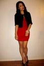Ruby-red-dress-black-jacket-heels
