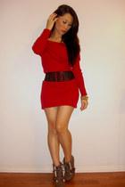red Victorias Secret dress - tan Bakers boots