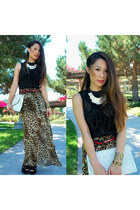 leopard volcom skirt - white clutch Poppie Jones bag - black wedges