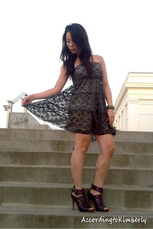 gray unknown brand dress - purple Anne Michelle heels