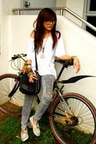 beige loafers - heather gray leggings - black sling bag bag - white t-shirt